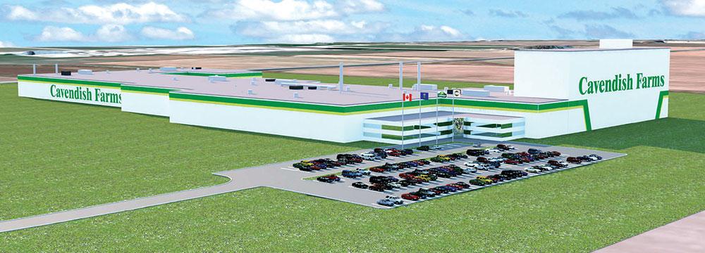 Rendu d'architecture de la nouvelle usine de transformation de pommes de terre congelées des Fermes Cavendish. Photo : Les Fermes Cavendish