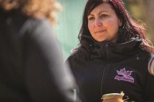 Natacha Lagarde, an agvocate from Quebec, proudly wears the Ag More Than Ever logo to raise awareness.