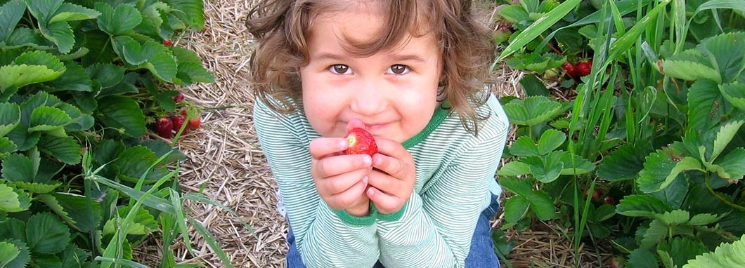 Petite fille avec un fraise