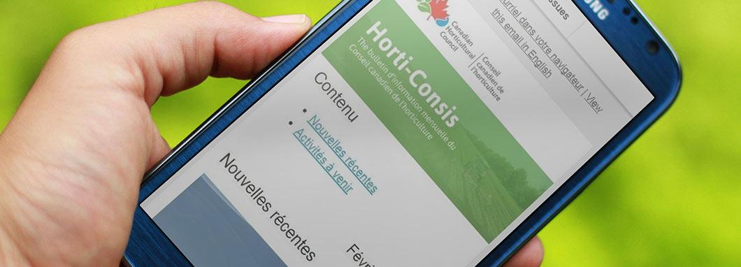 Horti-Concis sur un smartphone