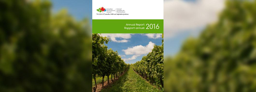Page titre du Rapport annual de 2016