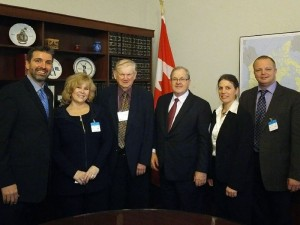 One of several meetings between CPMA, CHC and members of Parliament. From left to right: Ron Lemaire, President, CPMA; Margie Schurko, Secretary/Treasurer, BC Produce Marketing Association; John MacDonald, Board Member, PEI Wild Blueberries Growers Association; The Hon. Lawrence MacAuley, Minister of Agriculture and Agri-Food; Rebecca Lee, Executive Director, CHC; Jan VanderHout, Vice-Chair, Ontario Fruit & Vegetable Growers Association
