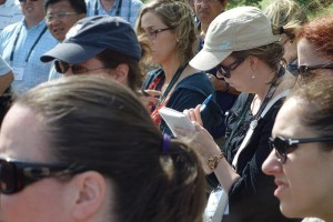 A participant takes notes during the CHC crop protection information tour. Photo: D. Folkerson (CHC)