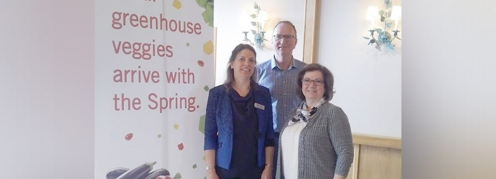 From left to right: Rebecca Lee, CHC Executive Director; Peter Cummings, Outgoing Chair, BC Greenhouse Growers' Association; Linda Delli Santi, Executive Director, BC Greenhouse Growers' Association.